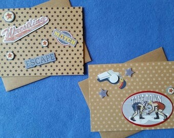 Two Wrestling Blank Greeting Cards, recycled kraft paper with 3D stickers