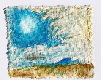 Sailing ship ocean journey original art patch painting