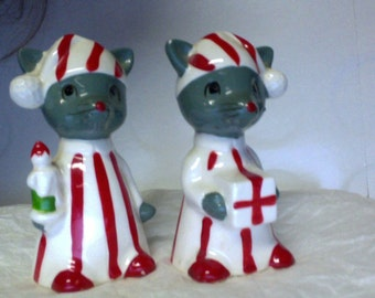 Vintage Christmas Mouse Mice Salt & Pepper Shakers Inarco Japan