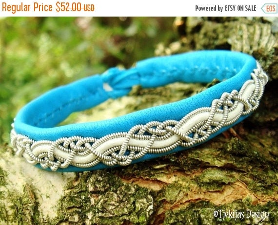 HUGINN Sami Viking Bracelet Swedish Lapland Turquoise Reindeer Leather with Tin Thread and White Leather Cord Braid - Custom Handcrafted