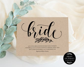 Editable Template - Instant Download Rustic Bridal Shower Invitation