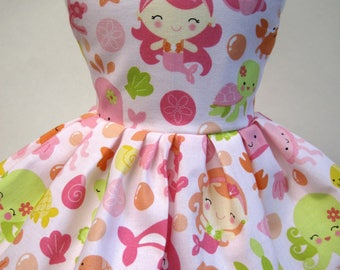 Under the Sea in Pink, Sleeveless Dress for your 18 Inch Doll C