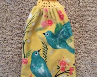 Hanging Kitchen Towel - Crochet Top Towel - Birds - Blue Birds - Double and Reversible