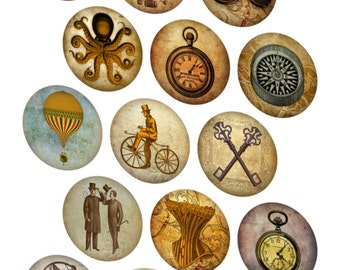 Vintage inspired 30 steampunk round circle stickers glossy cut ready to use
