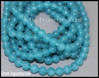 "15"" Strand 6mm AQUAMARINE Gemstone Bead - Round Natural Dyed Gemstone Semi Precious Beads - Instant Shipping - DIY Jewelry Usa - 6957"