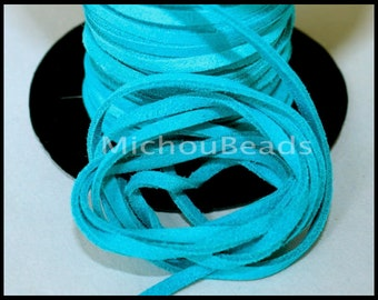 DESTASH Sale 2 Yards Genuine SUEDE Cord - Distressed TURQUOISE 6 feet 3x1.8mm Split Suede Leather Natural Dye Color Lace Cording by the Yard
