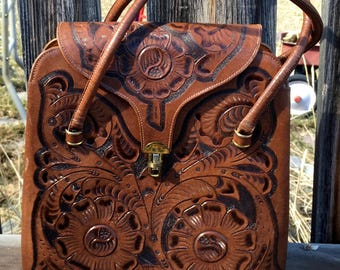Vintage Tooled Leather Handbag,Mexican Made 1950s,Tan Leather Purse,Shabby Chic,Boho,Purse Collector,Ethnic Wardrobe,Cultural Trade Ware
