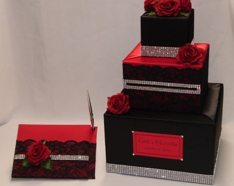 Black and Red Wedding Card Box with matching Guest Book and Pen-Lace, Rhinestones, Red Roses