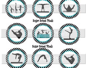 INSTANT DOWNLOAD Teal Blue  Black polka dot border Gymnastics 1 inch circle Bottle cap Images