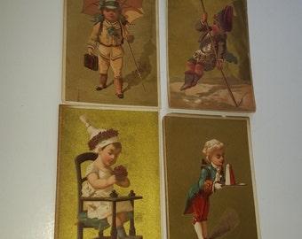 4 antique Victorian cards with children gold background illustrations ephemera  old paper art supplies vintage S12