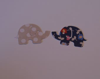 25 Large MOD ELEPHANT paper punch,  2 inch wide x 1.5 blue with flowers/brown with white spots on back side  confetti, scrap booking.
