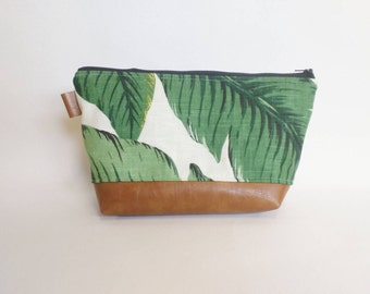 Banana leaf and brown faux leather makeup bag