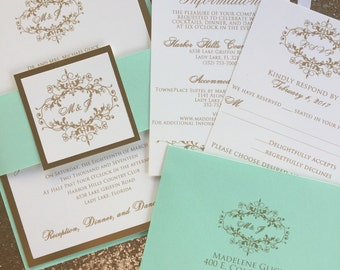 mint wedding invite | etsy, Wedding invitations