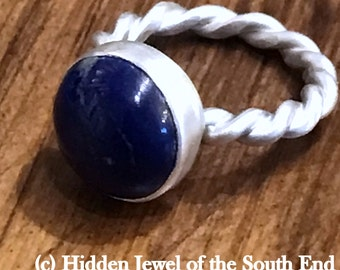 Gemstone Lapis Ring Bezel set Sterling Silver twisted Ring, Rope band, silver twisted wire rope ring blue ring (R28)