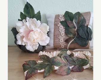 SALE Rustic Wedding Accessory Set/ Flower Girl Basket, Ring Pillow and Wedding Garter Set/ UNIQUE  OOAK/ Burlap Wedding /Rustic Wedding