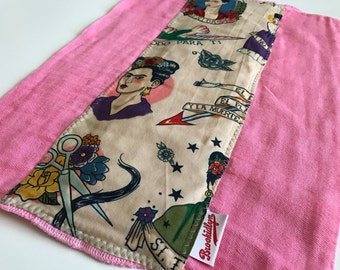 Frida Kahlo, Pink, Burp Cloth
