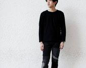 Knee Patchwork Remade Black Jeans