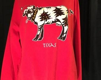 Christmas Sweater Texas Cow Sweatshirt