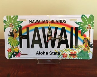 Hawaii  License Plate Clock