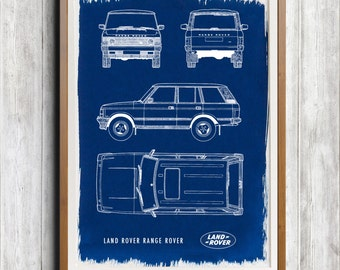 Land Rover Range Rover A4 Hand coated traditionally made cyanotype blueprint
