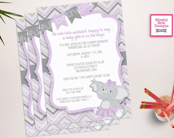 PURPLE ELEPHANT TUTU, Elephant TuTu Baby Shower Invitation,  Elephant Tutu, Purple Gray Baby Girl Baby Shower Invitation, Purple and Gray