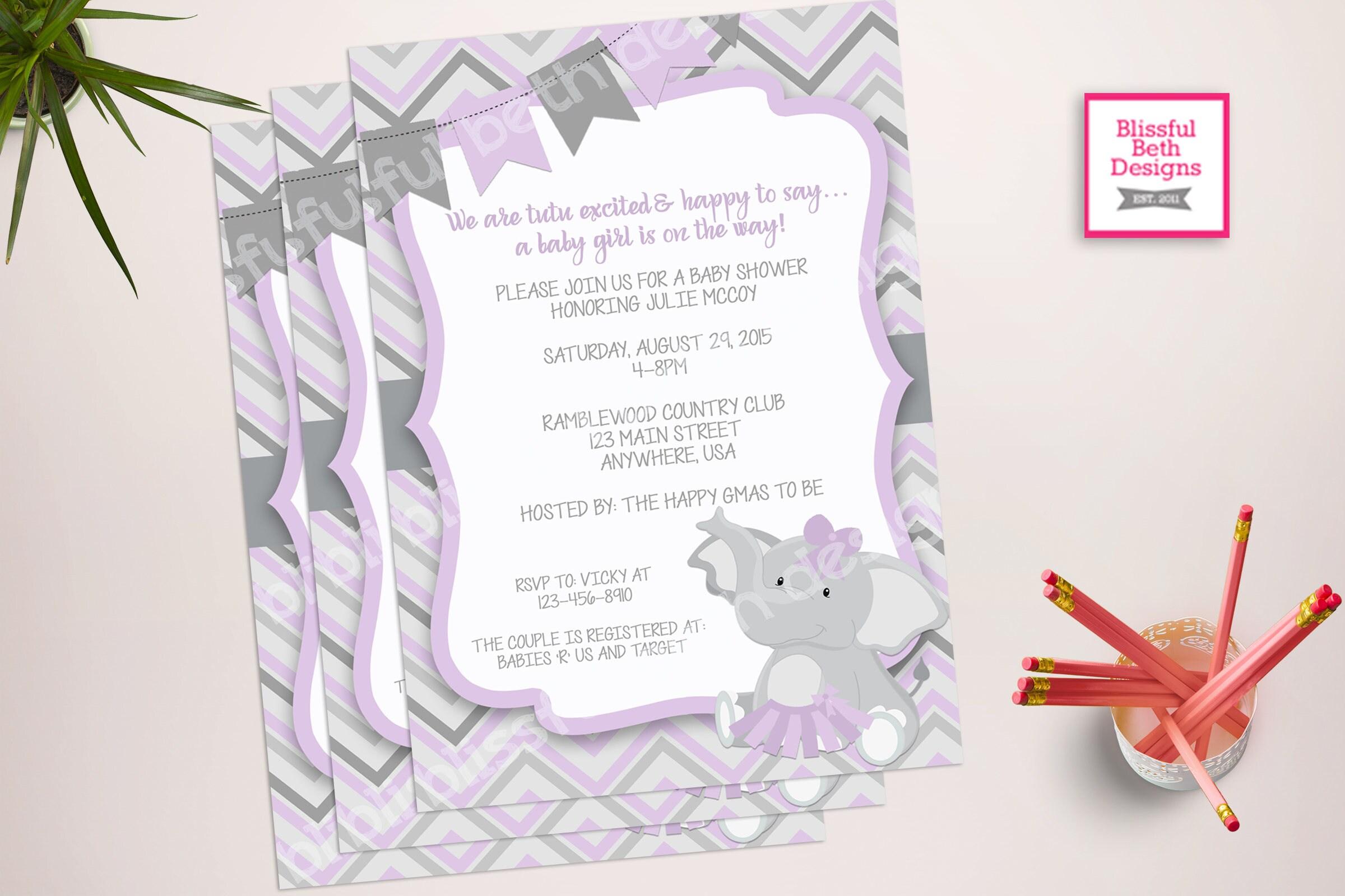 purple elephant tutu elephant tutu baby shower invitation elephant tutu purple gray baby girl baby shower invitation purple and gray