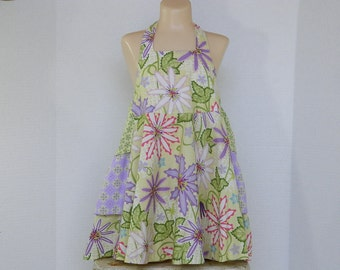 Girls' Halter Sundress, Spring and Summer Children's Clothes, Size 4 Easter Dress, Purple Green and Yellow Flowers, OOAK Handmade Clothes