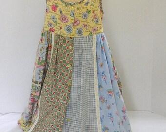 Girls' Summer Sleeveless Dress - Girls' Casual Dress - Sundress with Slip - Tea Length Multi Print Dress - Garden Party - Beach Wear Casual