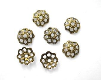 32 Pieces Antiqued Brass Filigree Bead Caps for 8 to 12mm Beads