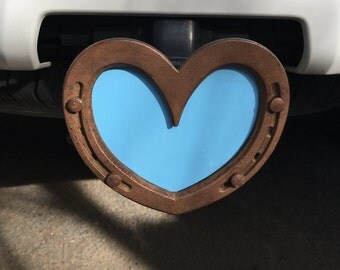 Trailer Hitch Cover, heart horseshoe, receiver hitch cover, Horse truck accessory, pink, red, white, blue reflective  & sky blue too!