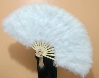 21*42inch Large  Burlesque Fan Dance  feather fan Bridal Bouquet Party Dance Fan Showgirl Large Fan White