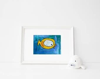 Big fish   beach print   cute animals   fishy   artwork   animal pun   kids   home decor   nursery decor   ocean artwork