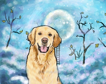 Golden Retriever Print(8x10 inch, 12x16 inch, 16x20 inch Paper or Canvas prints) Art Luster Dogs Pets Evening Night sky Stars Moon Folk