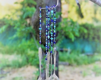 Vintage silverware wind chime- cobalt and turquoise beads-beautiful tones- Yard Art- hand made- one of a kind-