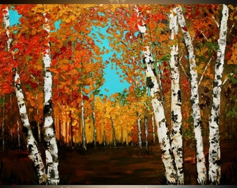"HUGEOil Landscape painting Abstract Original Modern 48""X36"" palette knife Birch Trees  impasto oil painting by Nicolette Vaughan Horner"