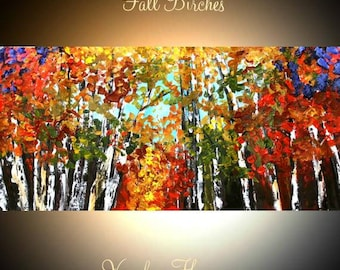 Birch Trees  Gallery Canvas Giclee  Painting Landscape Palette Knife,Fall Colors by Nicolette Vaughan Horner