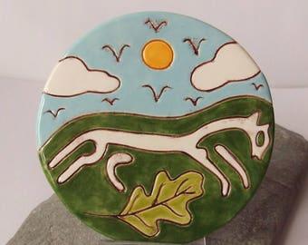 Ceramic White Horse Art Tile, Uffington, Pagan Pottery, Pagan Decor, Decorative Tile, Epona, Rhiannon, Celtic Goddess,  Horse Goddess