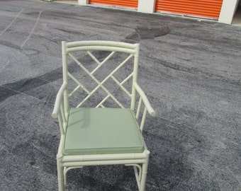 PLEASE BE SEATED / Single Aluminum Meadocraft Chinese Chippendale Arm Chair / Chinoiserie Chic