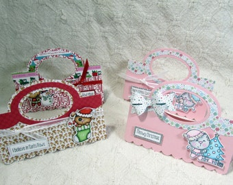 4 OOAK Gift Bag Toppers for Christmas - Elves, Holidays, Gift, Present, Cookies, Shabby Chic