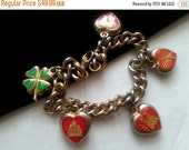 Now On Sale Vintage Paris Charm Bracelet * Travel Souvenir Heart Eiffel Tower Retro Collectible * Vintage Costume Paris France Jewelry