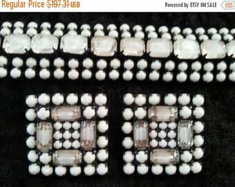 Now On Sale Vintage White Rhinestone Bracelet earrings Demi parure 1950's Collectible Mid Century Hollywood Regency Rockabilly Jewelry