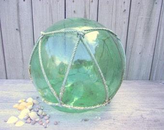 HUGE Japanese Fishing Float - Antique Glass Buoy - Nautical Fish Ball - Aqua Teal Green - Garden Gazing Ball Orb #4