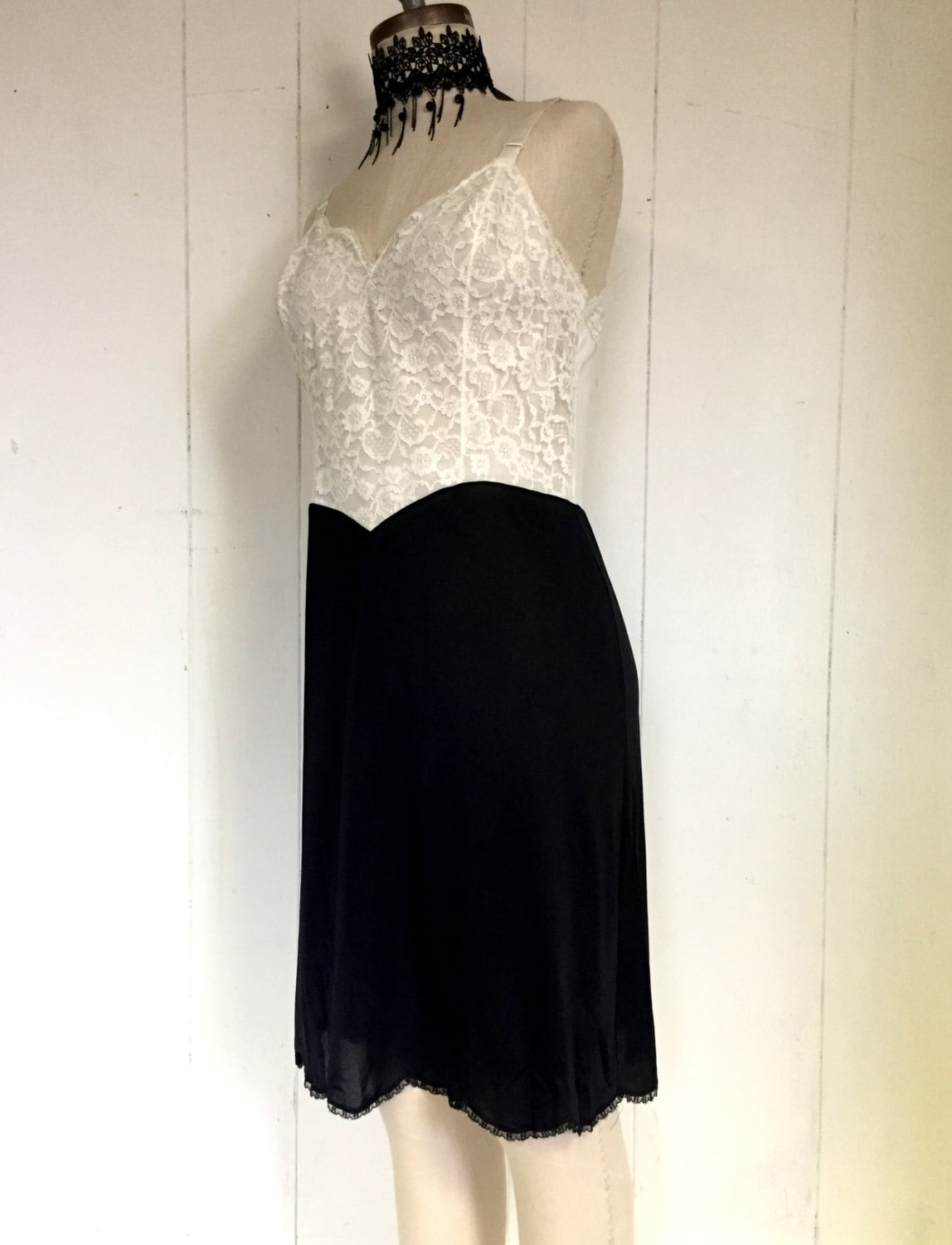 White Lace Black Sexy Negligee Nightgown Dress Lingerie Slip