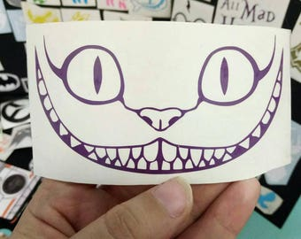 Cheshire cat Alice in wonderland Vinyl Decal - permanent outside use sticker