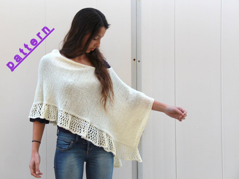Knitting Women : Knit poncho pattern women hand womens