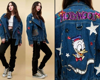 80s 90s Vtg SEQUIN Hollyweird Donald Duck Patch DENIM Jean Jacket / Motorcycle O Ring Grunge Glam Punk / Oversized Baggy Fit Anorak