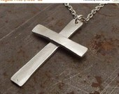 SALE 25% OFF Traditional Christian Silver Cross Pendant Necklace Handmade in Lightly Textured  for Men or Women