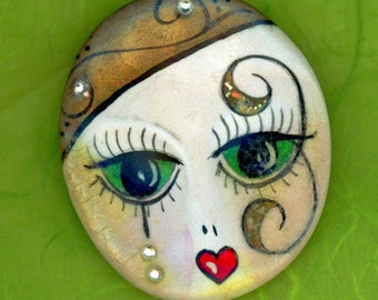 Vintage Handpainted Flapper Face Pin Brooch with Rhinestone Tears ~ Ceramic or Porcelain ~ Signed BJ 1988 ~ Fab Button Box Find!