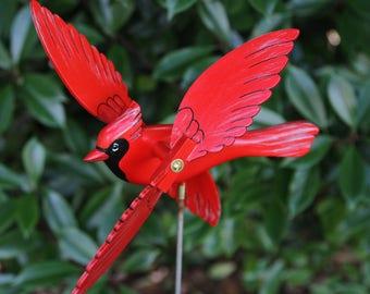 Cardinal Whirligig Bird, Garden Decor, Whirlygig, Lawn Ornament, Whirlybird, Whirligig
