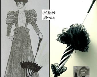 "Victorian ""WALKING STICK"" PARASOL Umbrella 26"" in Elegant Black and White Stripe Satin with Lace Ruffle w/Long Handle Civil War Wedding Goth"